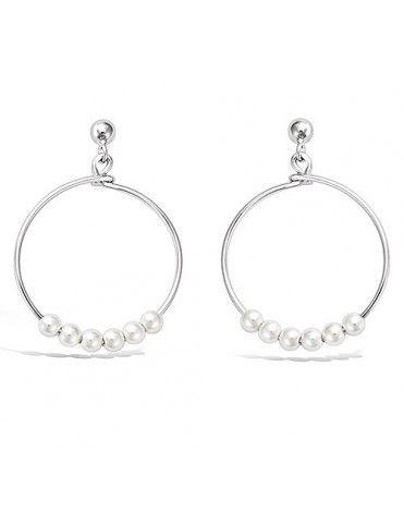 Pendientes plata aro perlas 21HW03520SP