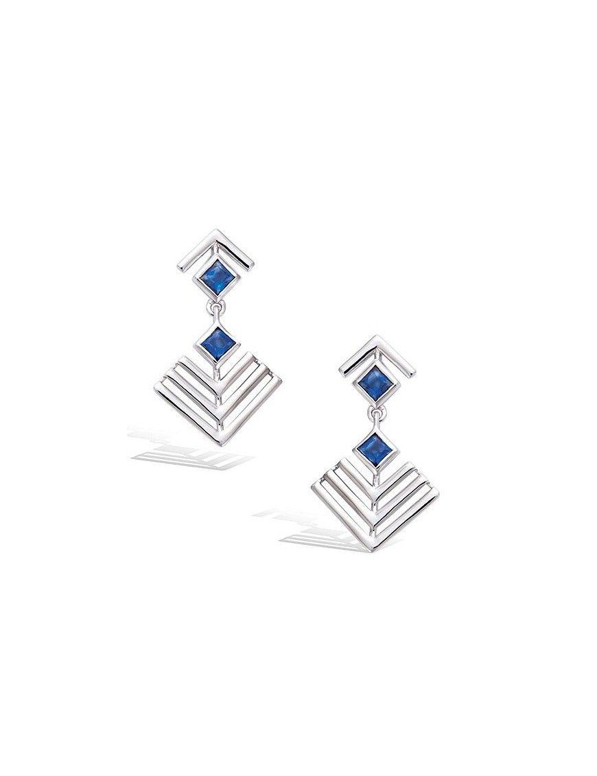 Pendientes plata piedra azul 21HW1210SS