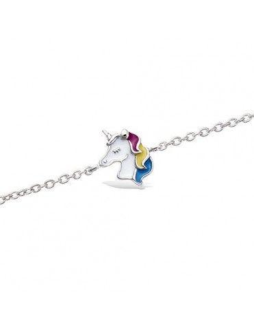 Pulsera plata esmalte unicornio 31EW0690