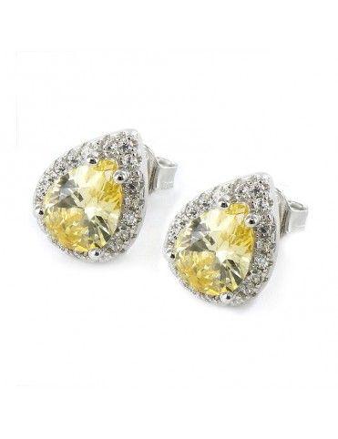 Pendientes de plata gota amarilla 9102577