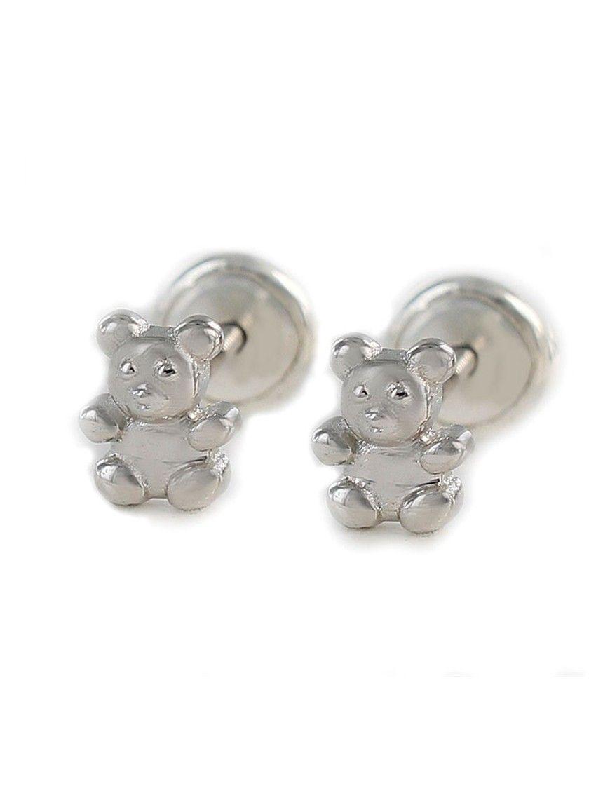 Pendientes plata osito para bebé 9104352