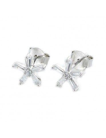 Pendientes de plata flor cinco pétalos 9106870