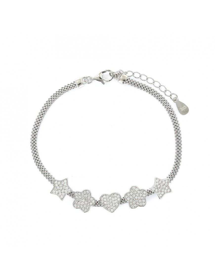 Pulsera plata malla corazones y flores 9106894