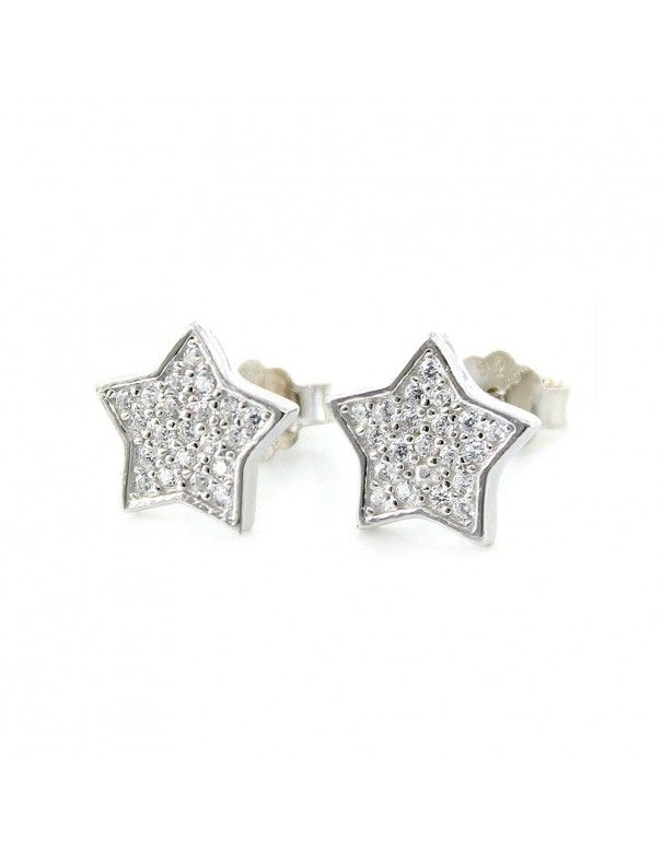 Pendientes de plata estrella de cinco puntas 9107055