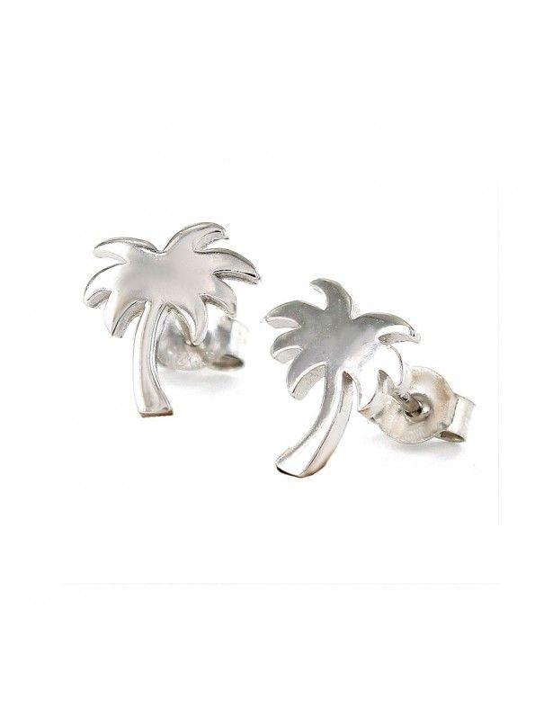 Pendientes de plata palmera tropical 9107447