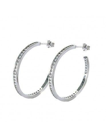 Pendientes aro de plata con circonitas 9108046