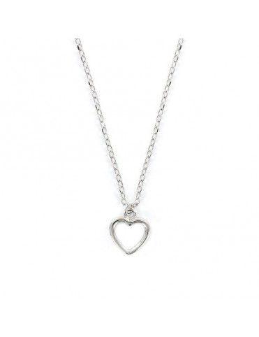 Collar de plata corazón calado 9108286