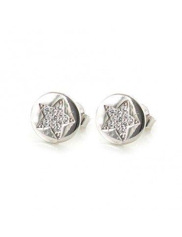 Pendientes plata redondos estrella 9108457