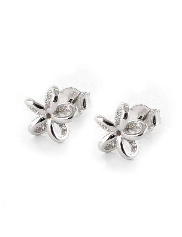 Pendientes plata flor en relieve 9108459