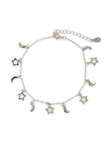 Pulsera plata lunas y estrellas 9109140