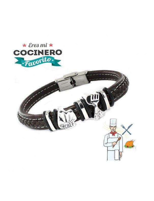 Pulsera plata y acero cocinero 9109460
