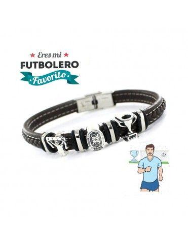 Pulsera plata y acero futbolero 9109474