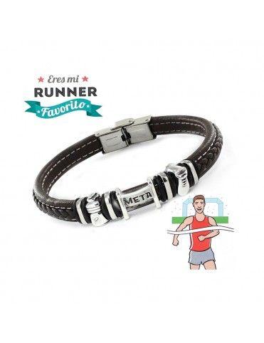 Pulsera plata y acero runner 9109477