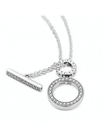 Collar Pandora en T en plata de ley Doble Aro 399039C01-45