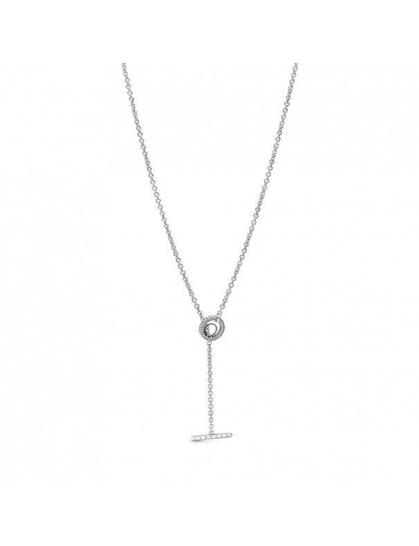Collar Pandora en T en plata de ley Logo y Corazón en Pavé 399050C01-80