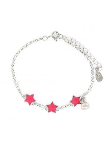 Pulsera de plata tres estrellas para niña 9105983