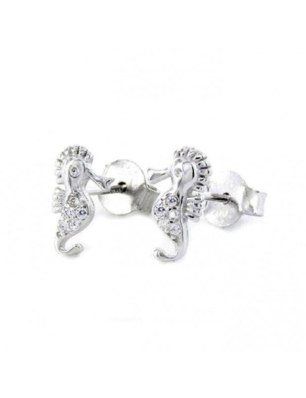 Pendientes de plata caballito de mar 9107046
