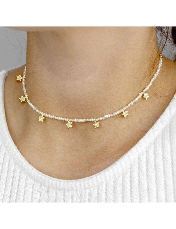 Collar de plata dorada para mujer 175072