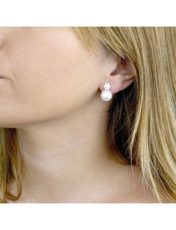 Pendientes de plata y perla 149842