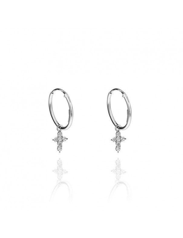 Pendientes de plata aro con cruz 151347
