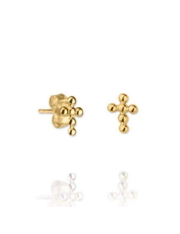 Pendientes de plata chapada en oro cruz 151468