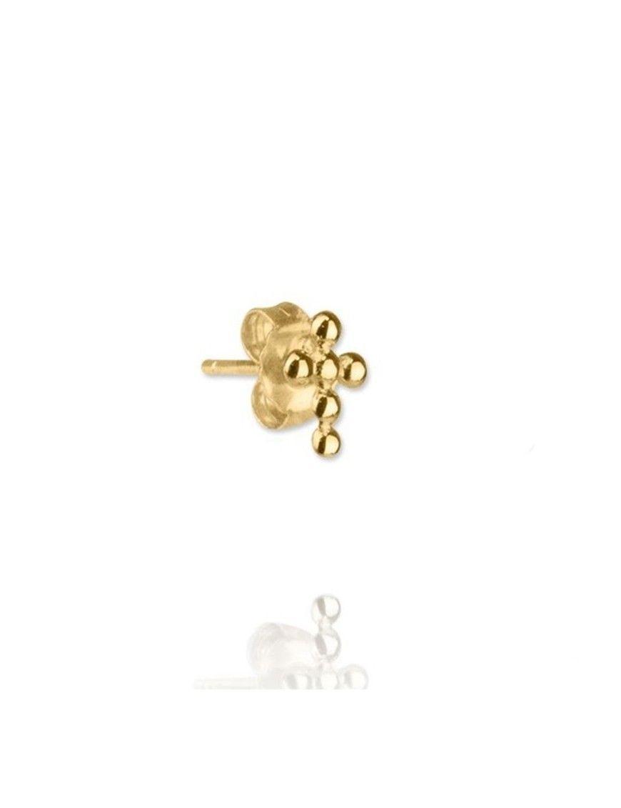 Pendiente suelto de plata chapada en oro cruz 151468&UNO