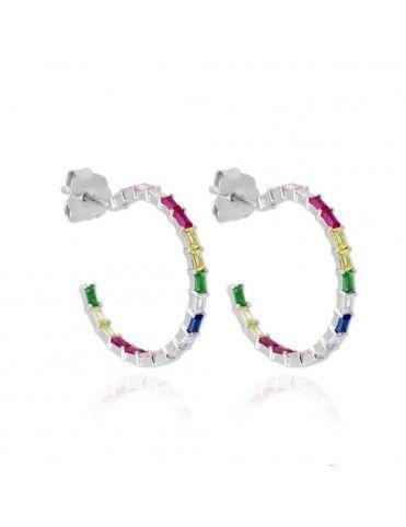Pendientes de plata aro colores 151653