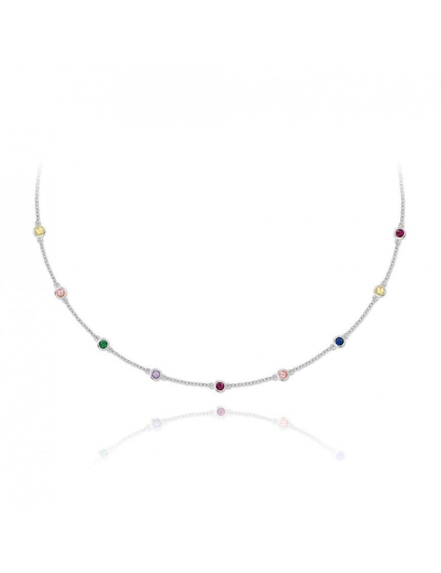Collar de plata con circonitas de colores 174997