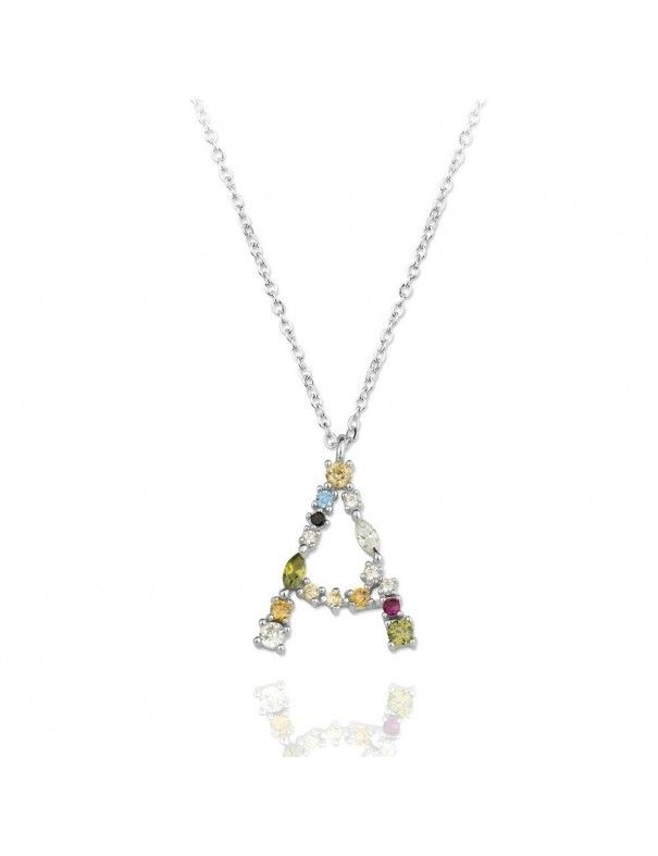Collar de plata Letra A de colores 175106
