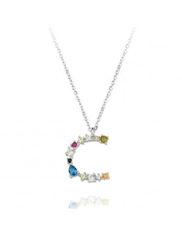 Collar de plata Letra C de colores 175110