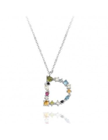 Collar de plata Letra D de colores 175112