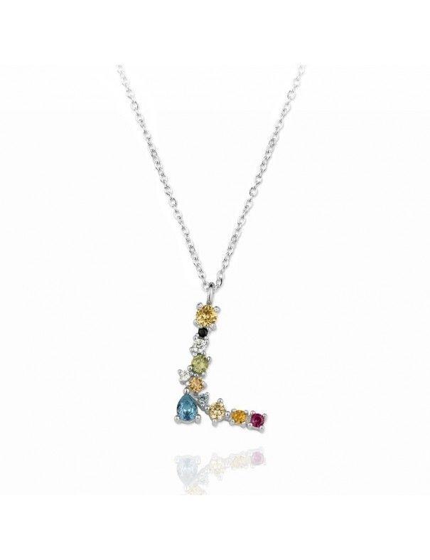 Collar de plata Letra L de colores 175128