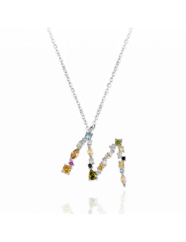 Collar de plata Letra M de colores 175130