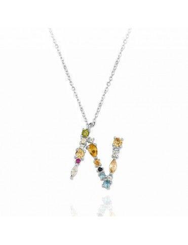 Collar de plata Letra N de colores 175132