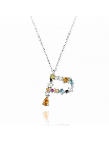 Collar de plata Letra P de colores 175136