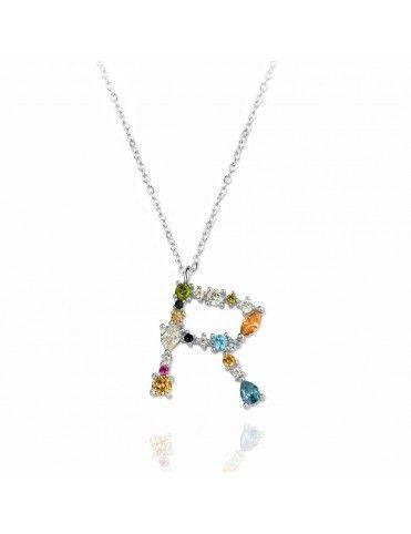 Collar de plata Letra R de colores 175140