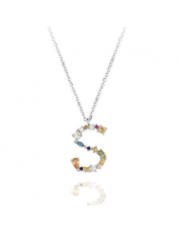 Collar de plata Letra S de colores 175142