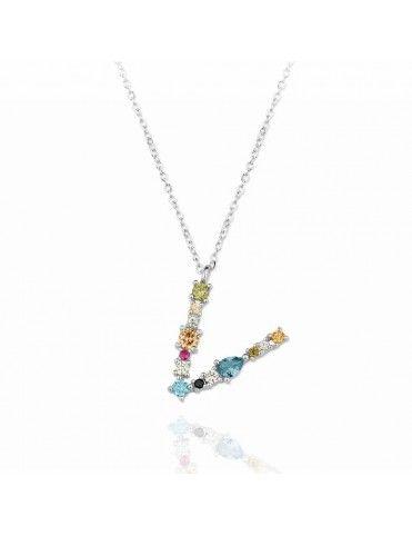 Collar de plata Letra V de colores 175148