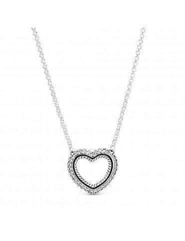 Collar Pandora Cadena de Serpiente y Corazón Abierto 399110C01-45