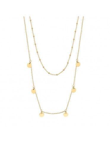 Collar Lotus Silver doble con círculos LP3003-1/2