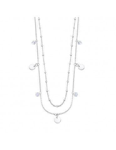 Collar Lotus Silver doble con círculos LP3004-1/1