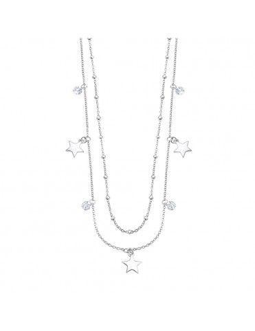 Collar Lotus Silver doble con  estrellas LP3007-1/1