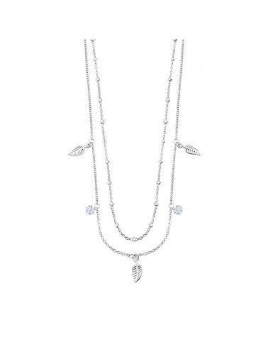 Collar Lotus Silver doble con plumas LP3008-1/1