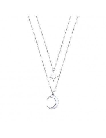 Collar Lotus Silver doble estrella y luna LP3021-1/1