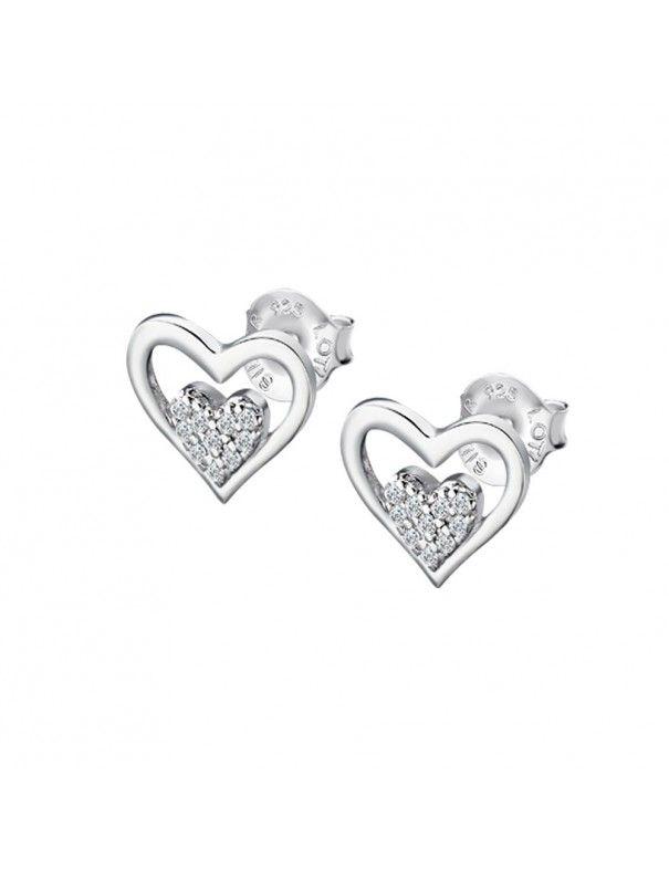 Pendientes Lotus Silver doble corazón LP3124-4/1